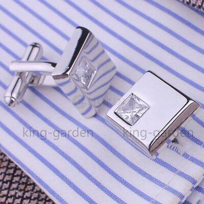 Mens Silver Stainless Steel Square Crystal Business Shirt Wedding Cufflinks