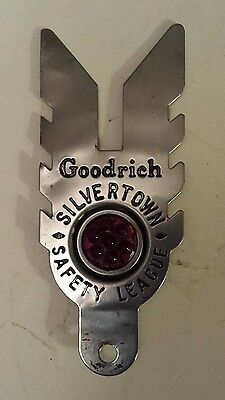 """Rare """"b.f. Goodrich Silvertown Safety League"""" Jewelled Licence Plate Topper Used"""