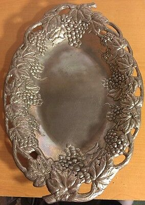"""Arthur Court Grapevines And Grapes Serving Tray, 13"""" X 9"""", Aluminum, 1990"""