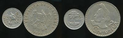 Guatemala, Republic, Group of 2 Coins (1971 25 Centavos, 5 Centavos) -Circulated