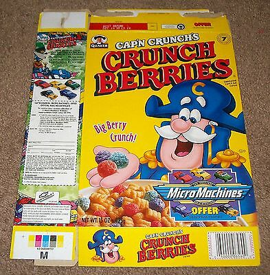 1998 Quaker Cap'n Crunch's Crunch Berries Cereal Box Flat Micro Machines Offer
