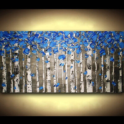 Hand-painted Canvas Framed Home Decor Wall Hanging Abstract Art Blue Tree