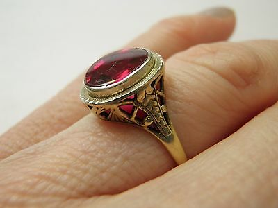 Antique Ornate Ostby Barton 10K Yellow Gold Filigree Ruby Red Stone Ring! Sz 5