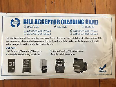 Stripe Dollar Bill Validator / Acceptor Pre-saturated Cleaning Card 10/pk