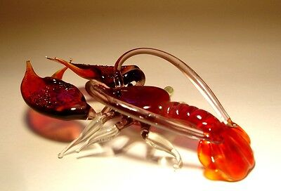 Blown Glass Figurine Art Sea Creature Dark Red LOBSTER