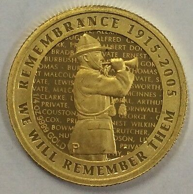 2005 New Zealand Anzac anniversary 1/4 oz gold coin .999 gold