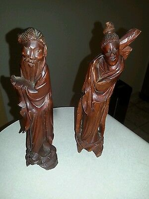 Pair Of Antique Chinese Wood Statues