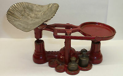 Antique  Miniature Cast Iron Toy Scale With 3 Of 4 Original Weights C. 1905