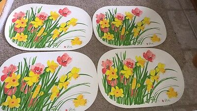 Vintage Set 4 Vera Neumann Ladybug Oval Vinyl Placemats Tulips And Daffodils