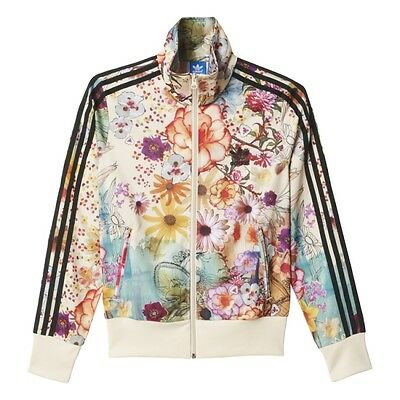 %adidas Women Firebird Black Pale Yellow Flower Floral Track Top Jacket