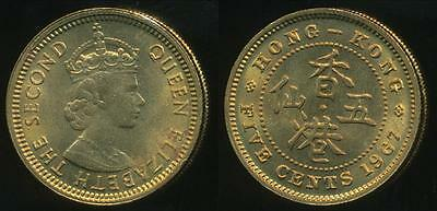 Hong Kong, British Colony, 1967 Five Cents, 5c, Elizabeth II - Uncirculated