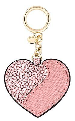 NWT Michael Kors Pale Pink Leather Heartbreaker Charm Clip Key Chain Ring $48