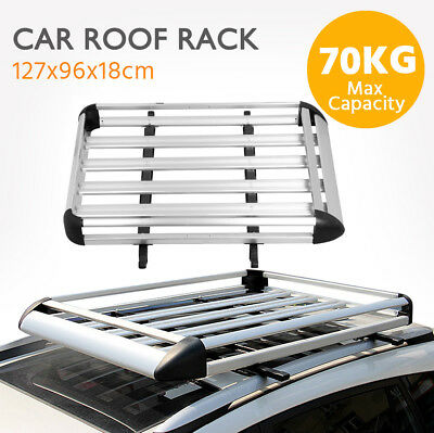 127x96cm Aluminum Roof Rack Car/SUV Top Cargo Luggage/Bag Carrier Basket+Crossba