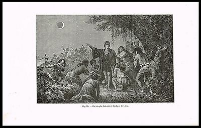 1874 Antique Print - Columbus Predicts the 1504 Lunar Eclipse, Astronomy, Scarce