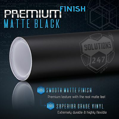 "Matte Flat Black Vinyl Wrap Film Decal Bubble Free Air Release - 12"" x 60"" In"