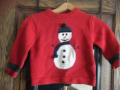 Girls or Boys Red Snowman SWEATER size 4T Harry & Me