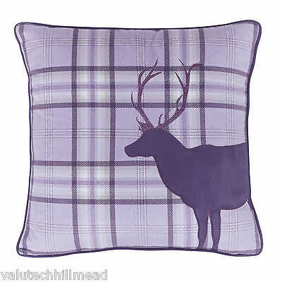 HOUSE ADDITIONS Tartan Stag Cushion Cover 43 x 43 cm - PURPLE