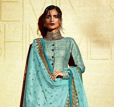 Fashionable Indian khadi Wedding Wear Zardosi Work Patiala Suit For Women