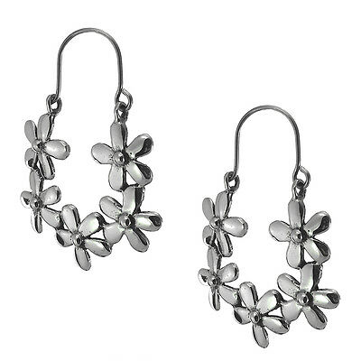 TAXCO 925 FRONT FACING FLOWER HOOP EARRINGS -Mexico Sterling Silver