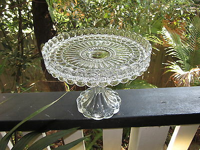 Chic, Beautiful  Highly Decorative Cut Glass Cake Pedestal ( Stand )