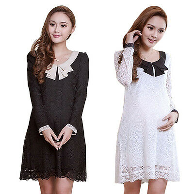 Fashion Women's Ladies Long Sleeve Loose Dress Lace Maternity Pregnant Dresses