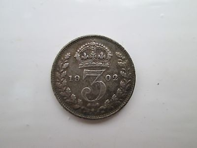 1902 Edward VII Sterling Silver Threepence Coin