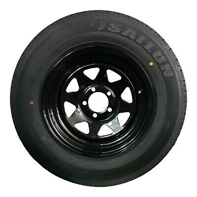 "13x4.5"" Ford HT Holden Wheel Rim and 155R13c LT Tyre Black Trailer Caravan Boat"