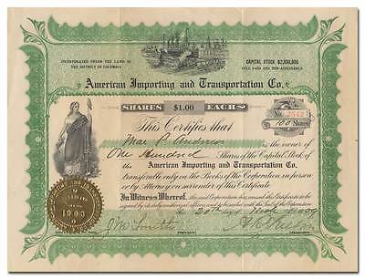 American Importing and Transportation Co. Stock Certificate