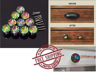 Handle Drawer Pulls Cabinet Knobs Colorful Crystal Glass Parts Crystal Chest Bin