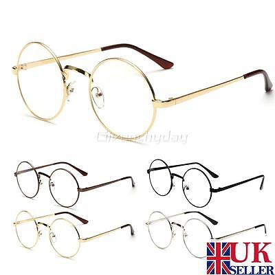Unisex Retro Fashion Big Gold Round Metal Frame Clear lens Vintage Geek Glasses