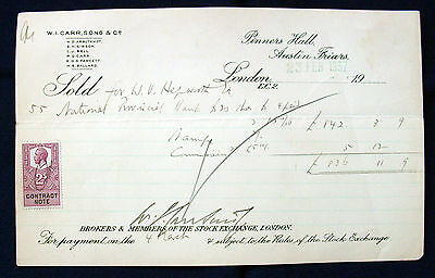 National Provincial Bank £20 Shares Sold Contract Note dtd 1937