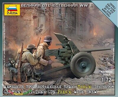 Zvezda - German anti-tank gun PAK-36 with crew 1939-1942 - 1:72