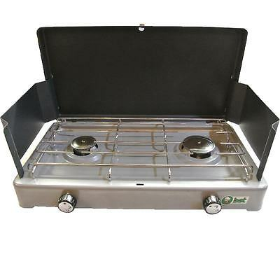 Double Burner Camping stove with legs and wind shield - new