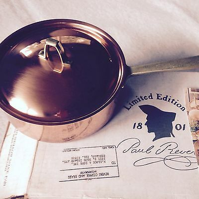 New - Paul Revere Limited Edition Single Handle 2 qt. Shallow Sauce Pan With Lid
