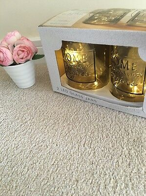 Glass  slogan jars with led lights set of 2 Shabby Chic Mason Grey Tea Lights