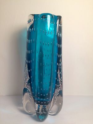 Whitefriars Glass 9777 kingfisher blue vase - excellent condition