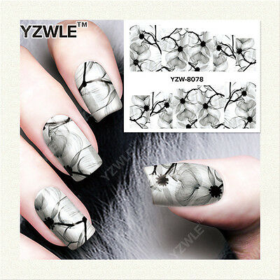 Nail Art Water Decals Stickers Transfers Flowers Lillies Daisies Gel Polish S255