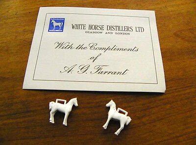 2 x VINTAGE WHITE HORSE WHISKY LUCKY CHARMS WHISKEY MASCOTS + COMPLIMENTS SLIP