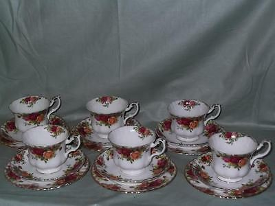 6 Royal Albert Old Country Roses Trios Tea Cups, Saucers & Plates (Worn Gilding)