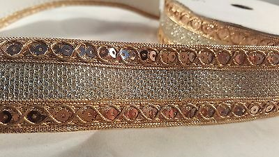 3.5cm- 1 meter Beautiful copper with sequins ribbon lace trimming for crafting