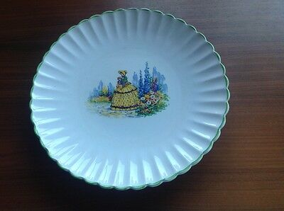2 Unmarked 12'' Plates With Lady In Yellow Dress
