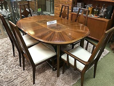 mid century modern dining table + 6 chairs Edmond Spence burl walnut rosewood