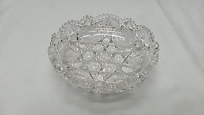 Antique AMERICAN BRILLIANT Ornate Cut Glass Nappy Candy Vanity Bowl Hobstars