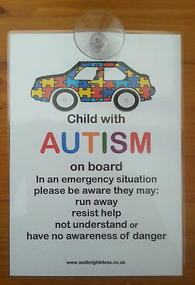 AUTISM AWARENESS CAR NOTICE great notice for your car a must in an emergency