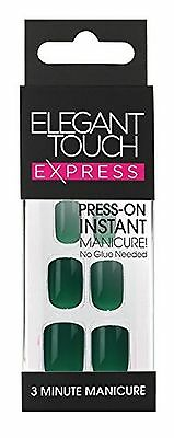 Elegant Touch Pre-Glued Express Nails Polished Ink Green