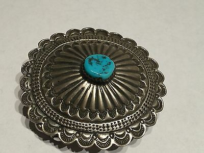 Native American STERLING SILVER TURQUOISE BELT BUCKLE
