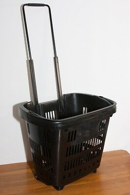 5x 34l Plastic Shopping Trolley Baskets With Handles And Wheels