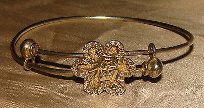 Wing Chun c1890 Antique Chinese Export 900 Silver Gilt Gold Sliding Bangle