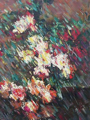"Flower Abstract Hand Painted 12""x16"" Oil Painting Floral Canvas Art"