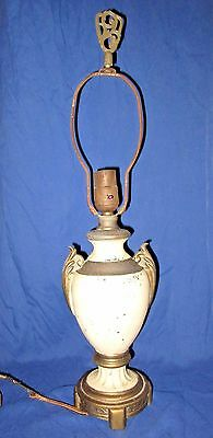 Antique Urn Shape Neoclassical Style Vintage Metal Table Lamp, Brass Finial